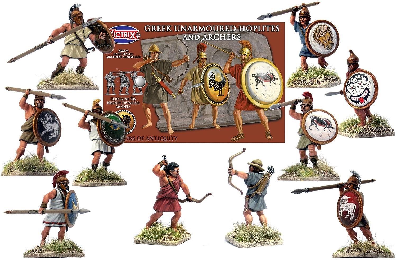 Victrix VXA005 56 Figure Box Set 28mm Plastic Minatures Warriors of Antiquity Greek Unarmoured Hoplites and Archers Greek Ancients