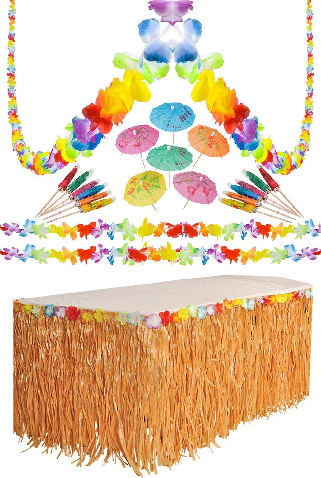 Luau Tropical Hawaiian Party Decoration Set - 36 Foot Lei Garland, 9 Foot Artifcal Grass Table Skirt, 144 Paper Cocktail Umbrellas By 4E's Novelty