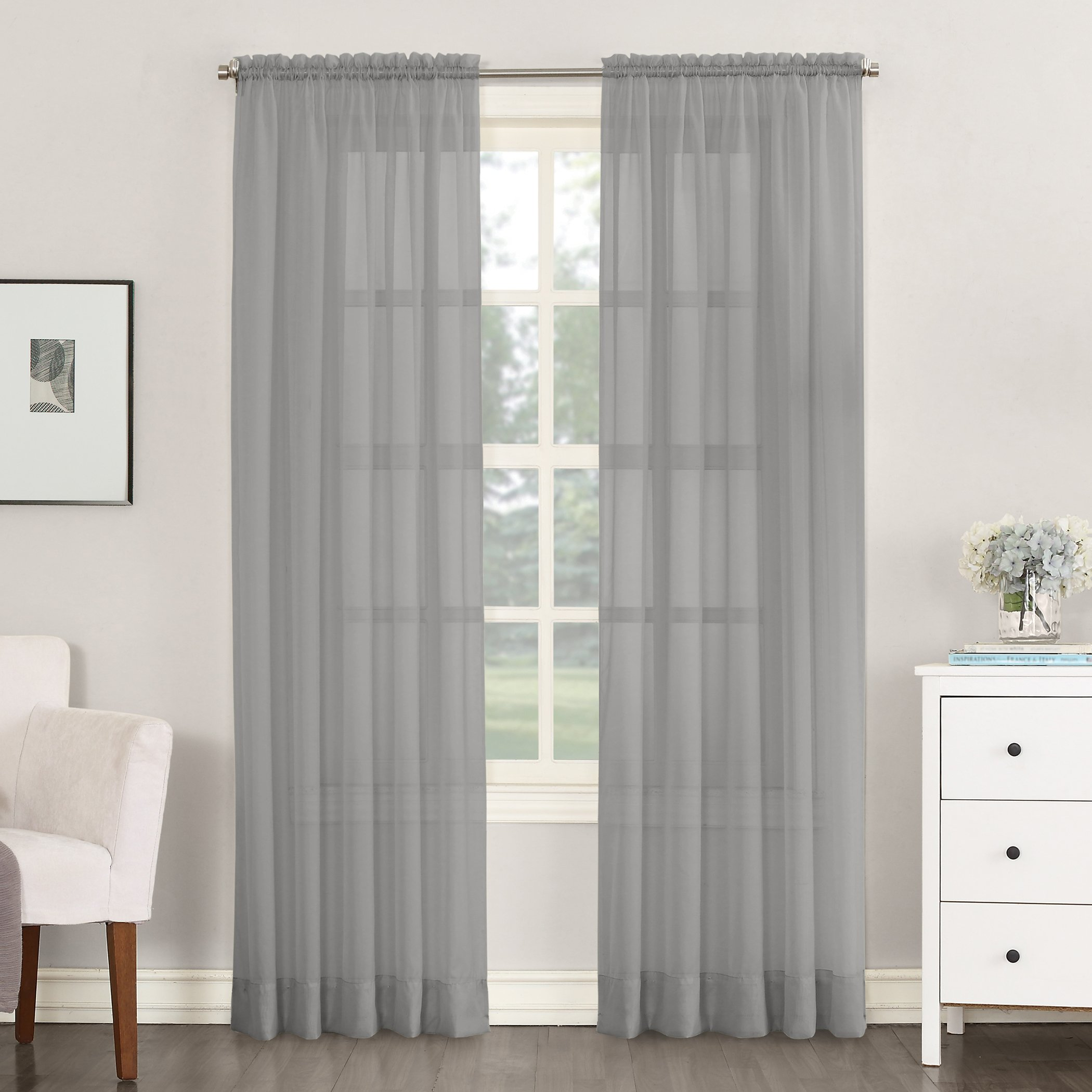 No. 918 Emily Sheer Voile Rod Pocket Curtain Panel, 59'' x 84'', Charcoal by No. 918