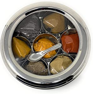 DK Stainless Steel Masala Box, Stainless Steel Spice Box, Stainless Steel Masala Dabba, Stainless Steel Spice Container, Indian Spice Box, Kitchen Spice Box, Spice Box for Chefs With PREMIUM QUALITY SPICES include By Rani Foods Inc