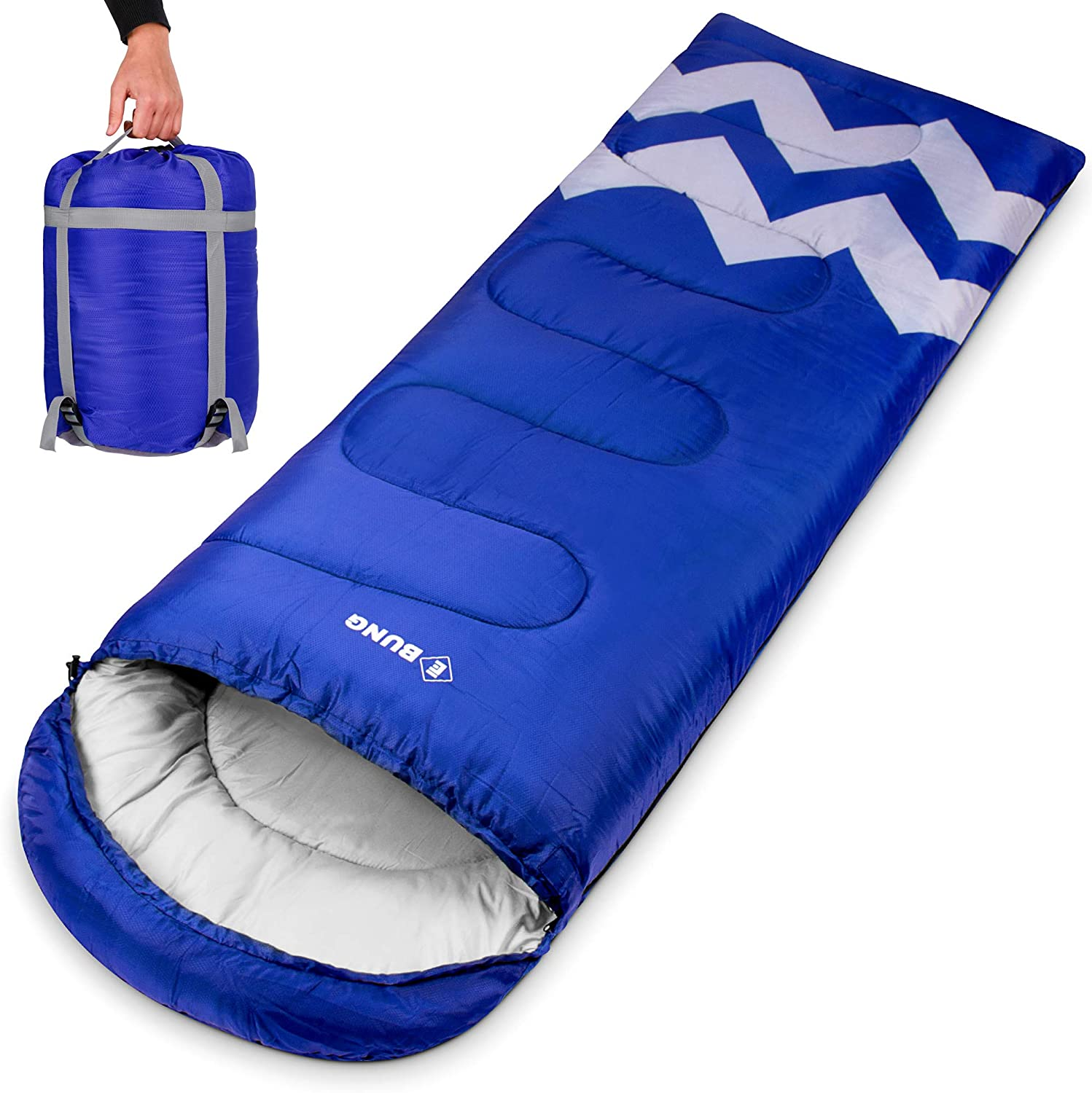 Ebung Sleeping Bag for Cold Weather – Envelope Portable Ideal for Winter, Summer, Spring, Fall – Outdoor Camping, Hiking, Traveling-Adults,Kids,Boys,Girls-Lightweight Waterproof Washable Blue