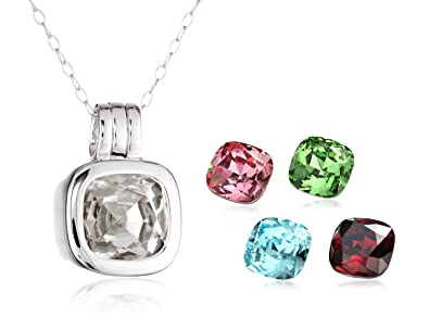 Amazon sterling silver interchangeable crystal pendant necklace sterling silver interchangeable crystal pendant necklace aloadofball Choice Image