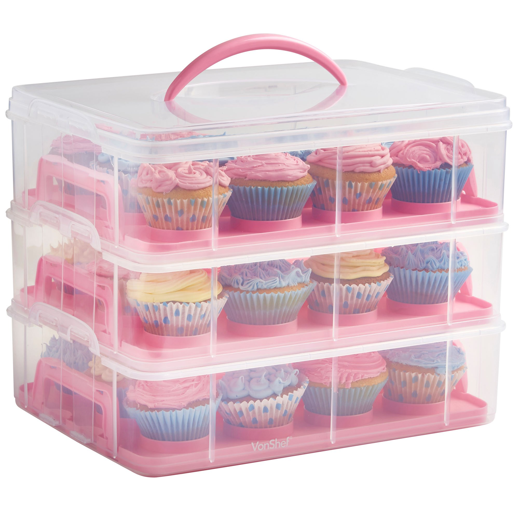 VonShef Snap and Stack Pink 3 Tier Cupcake Holder & Cake Carrier Container - Store up to 36 Cupcakes or 3 Large Cakes by VonShef