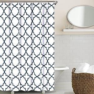 Echelon Home, Navy Quatrefoil Shower Curtain