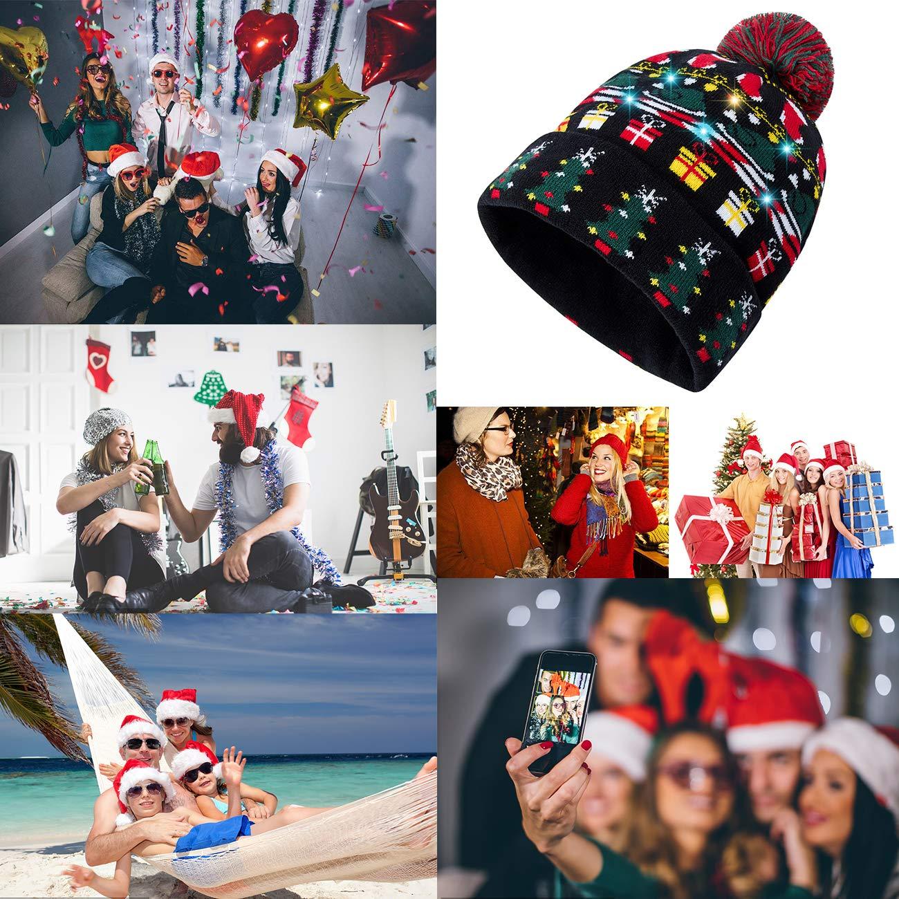 1bbd70fbc13e7 ... RAISEVERN Unisex Ugly LED Christmas Hat Novelty Colorful Light-up  Stylish Knitted Sweater Xmas Party