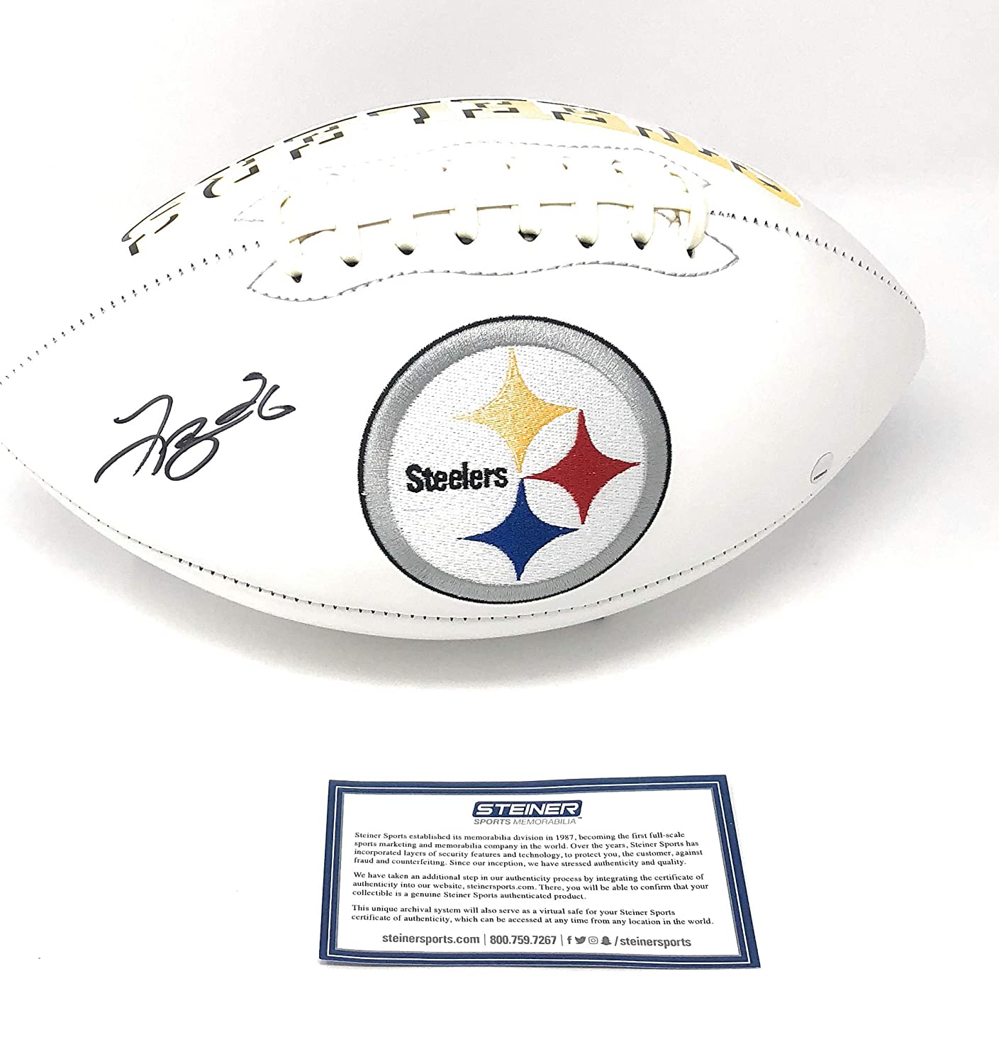 Leveon Bell Pittsburgh Steelers Signed Autograph Emboridered Logo Football Steiner Sports Certified