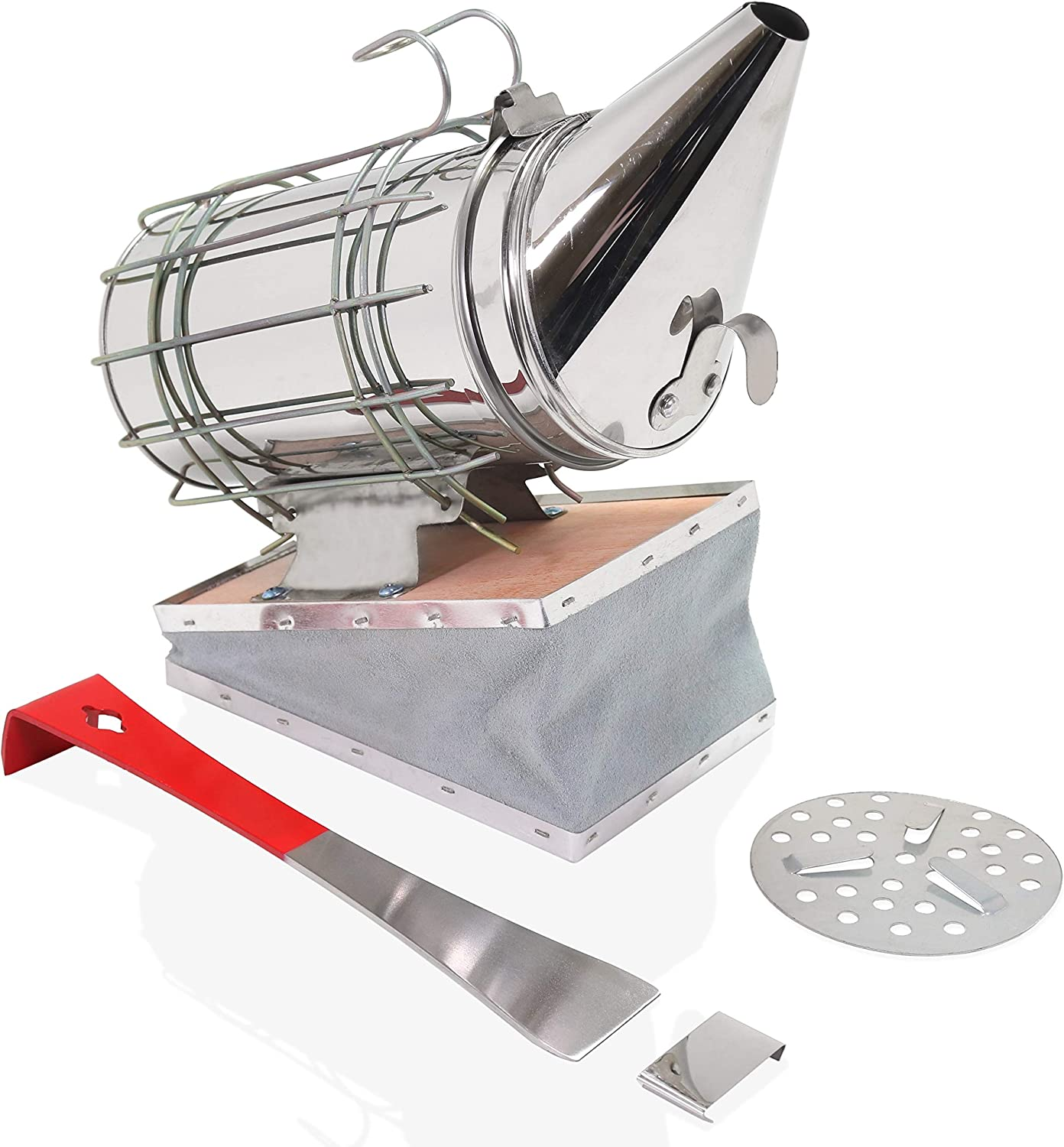 Aestic Bee Hive Smoker Stainless Steel 12 inches with Heat Shield with Hive Tool Scraper