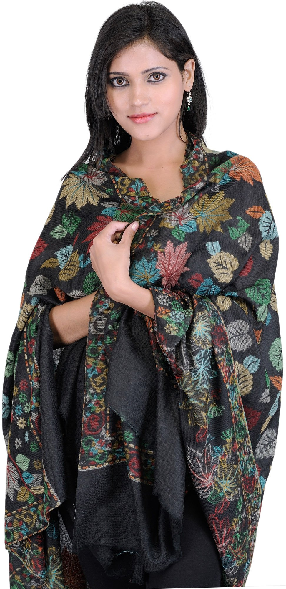 Exotic India Kani Shawl with Woven Chinar Leaves in Multi-Colored Thread - Color Black