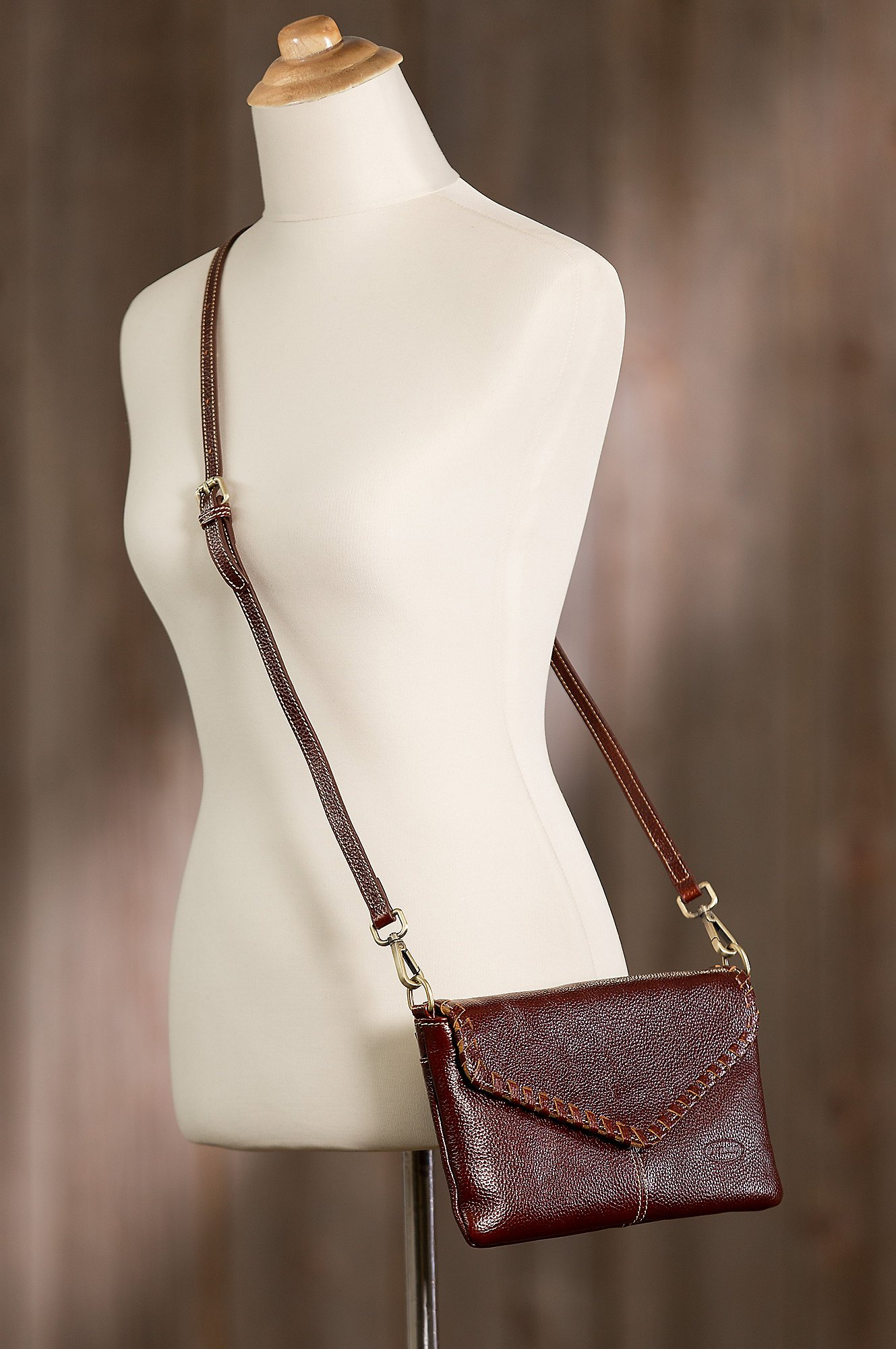 Connie Pebbled Leather Crossbody Wristlet Clutch by Overland Sheepskin Co (Image #6)