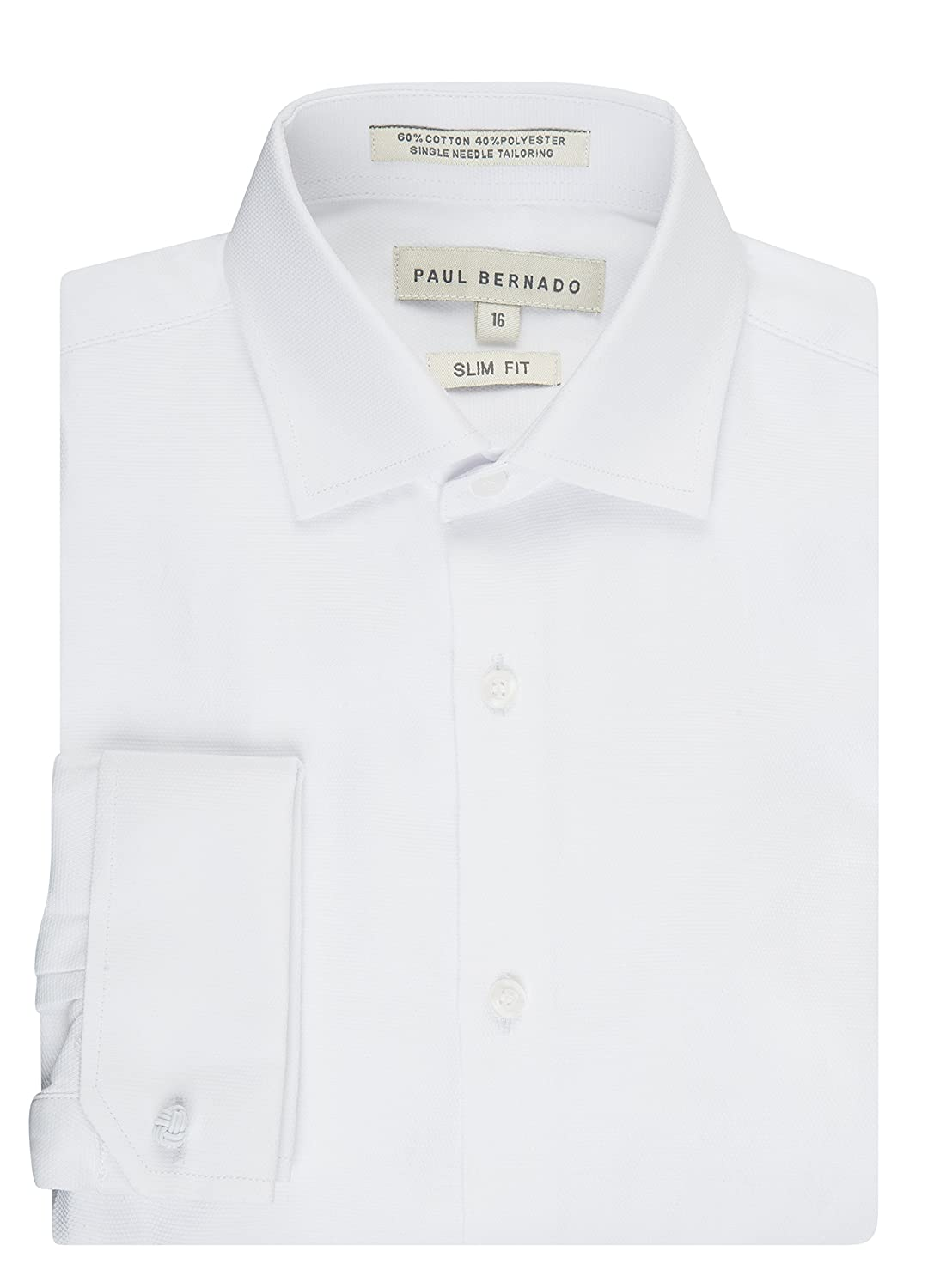Paul Bernado Boy's Slim Fit French Cuff Pique Design Dress Shirt (ALL SIZES) 2205SLFC