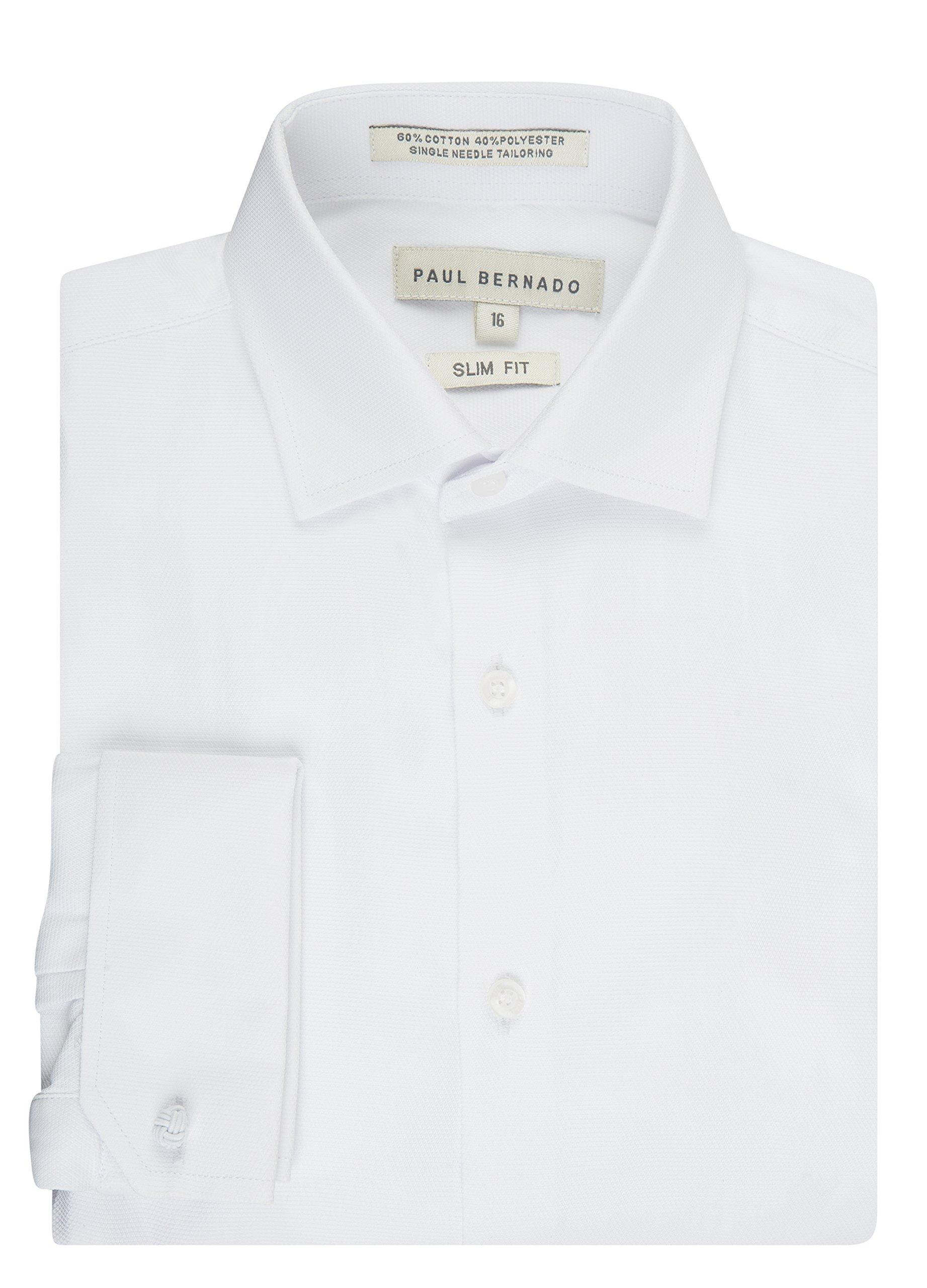Paul Bernado Boy's 2205SLFC Slim Fit French Cuff Pique Design Dress Shirt - White - 20