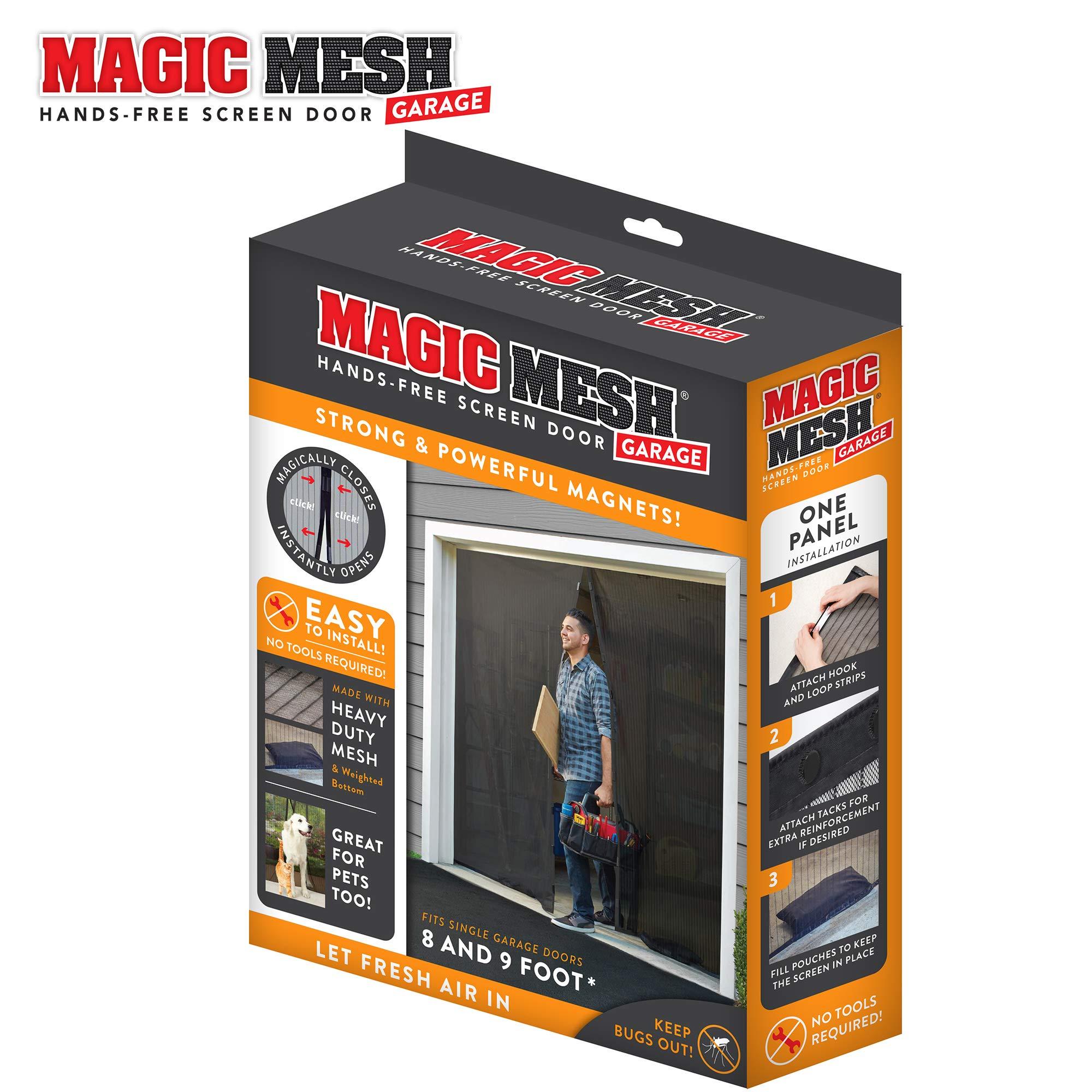 Magic Mesh Garage- Hands Free Magnetic Screen Door, Fits Single Garage Doors- 8 & 9 Foot by Magic Mesh