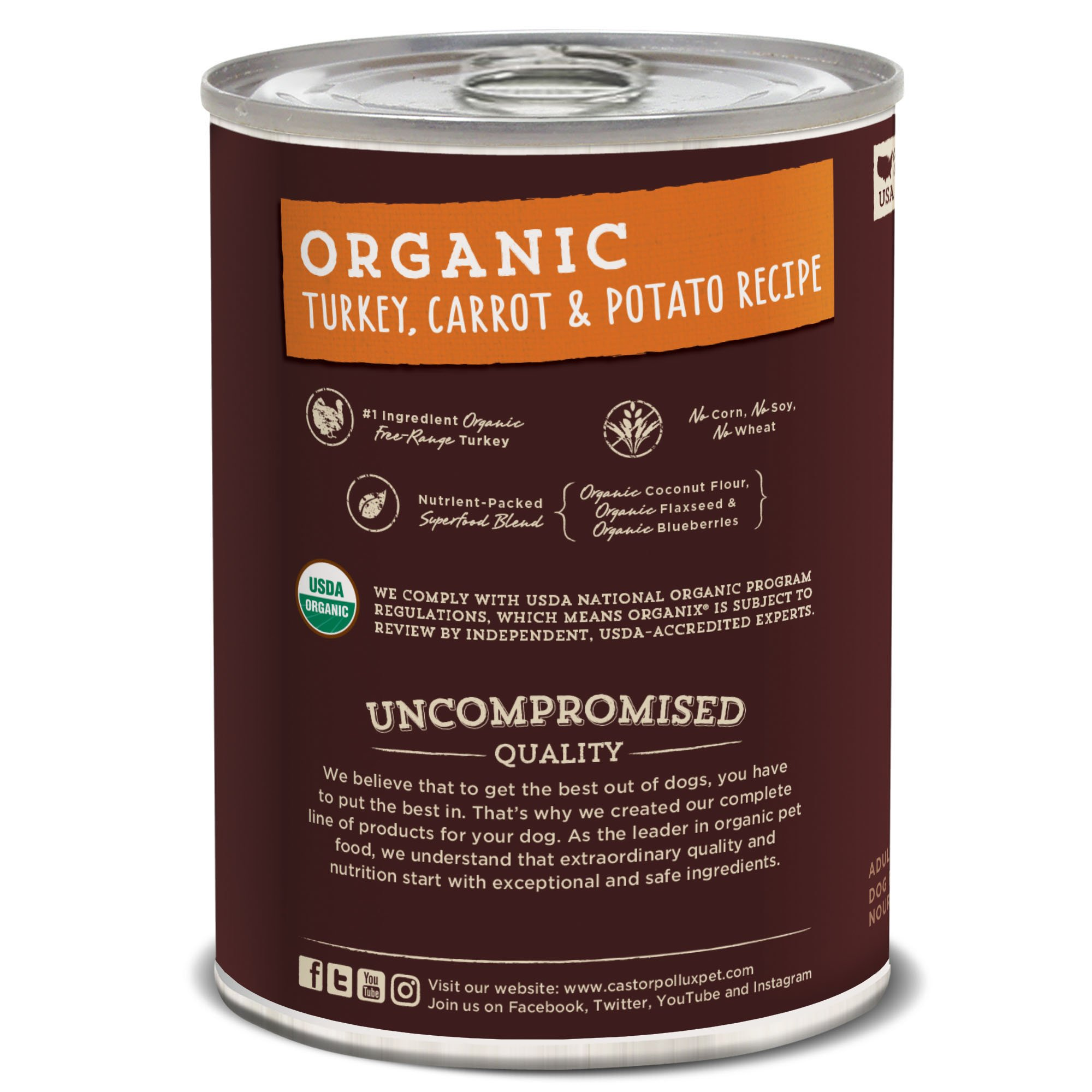 Castor & Pollux Organix Organic Turkey, Carrot & Potato Recipe, 12.7 oz, Case of 12 Cans by Castor & Pollux (Image #2)