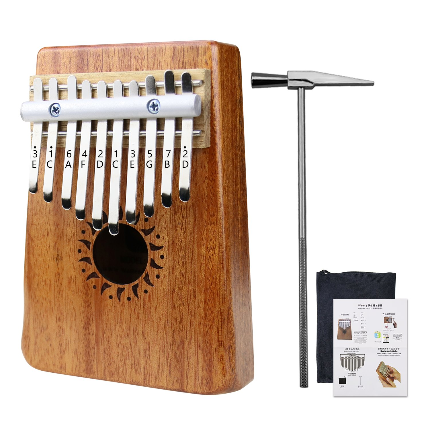 Rahano Kalimba 10 Keys Thumb Piano, Solid Mahogany Body African Instrument with Tune Hammer, Bag and Music Book
