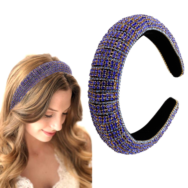 Fashion Rhinestone Headband for Women Velvet Padded Crystal Diamonds Embellished Hair Band Races Goth Wedding Headpiece Hair Accessory : Beauty