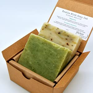 Double Mint Soap Gift Set (2 Full Size Bars) - Eucalyptus Spearmint, Peppermint - Great for ACNE & OIL SKIN - Handmade in USA with All Natural/Organics Ingredients & Essential Oils