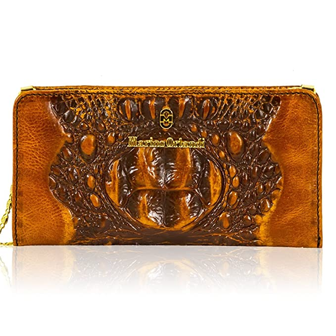 e2a7b342174d Marino Orlandi Italian Cognac Alligator Leather Oversized Wallet Clutch  w Chain  Amazon.in  Clothing   Accessories