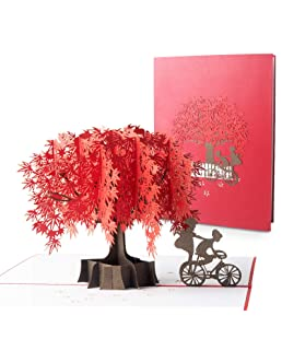 Blasoul Maple Tree 3D Pop Up Couple Greeting Cards, Foliage 3D Pop Up Card Anniversary Card Birthday Card for lover Greeting Cards with Envelope for Mother's Day Valentine's Day Thanksgiving Day gifts