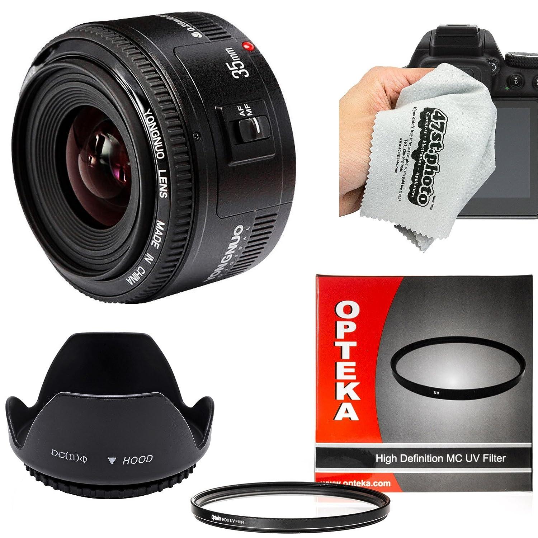 Yongnuo 35 mm f / 2 AF HD標準プライムレンズフード、UVフィルターとマイクロファイバークリーニングクロス付きCanon EOS 80d、70d、60d、50d、7d、6d、5d、t6i, t6s、t6、t5i、t3、t5、t4i、t3i、t2iデジタルSLRカメラ   B017DM2KT6