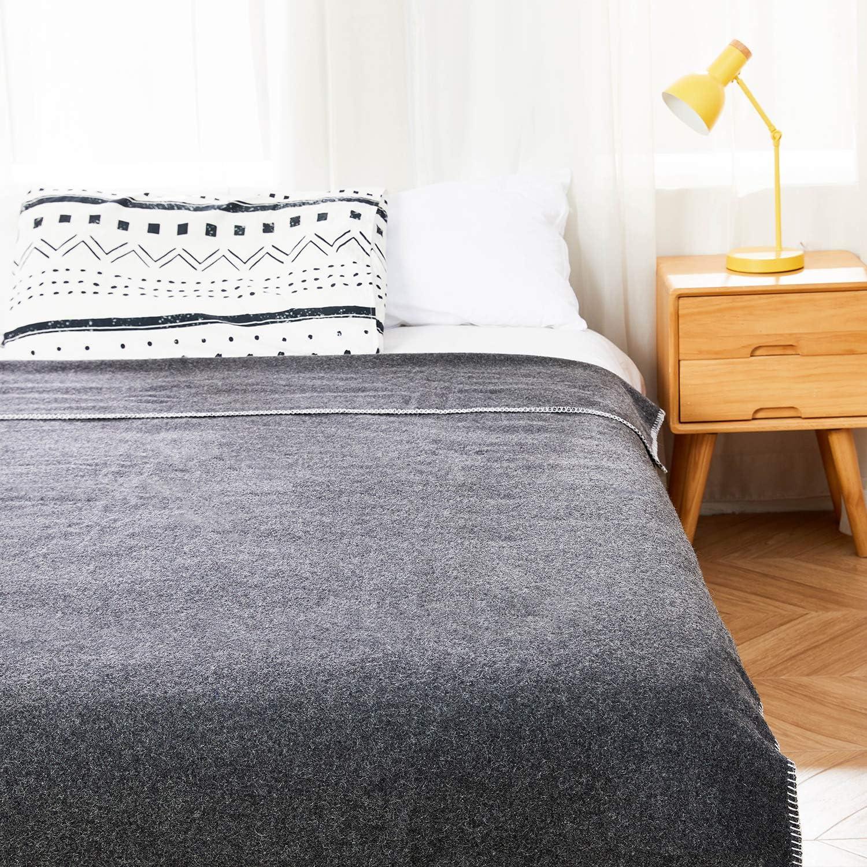 AusGolden 100% Australian Wool Blanket 66 x 90 inches, All-Season Throw Blanket, Pure Wool Blanket, Indoor Outdoor Wool Camping Blanket, Hypoallergenic and Breathable Retardent Blanket Classic Gray
