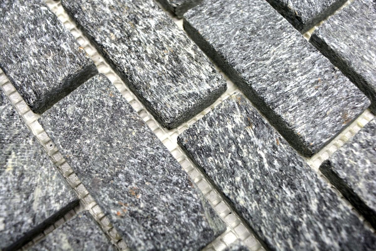 Mosaico piastrelle quarzite naturale pietra brick quarzite nero