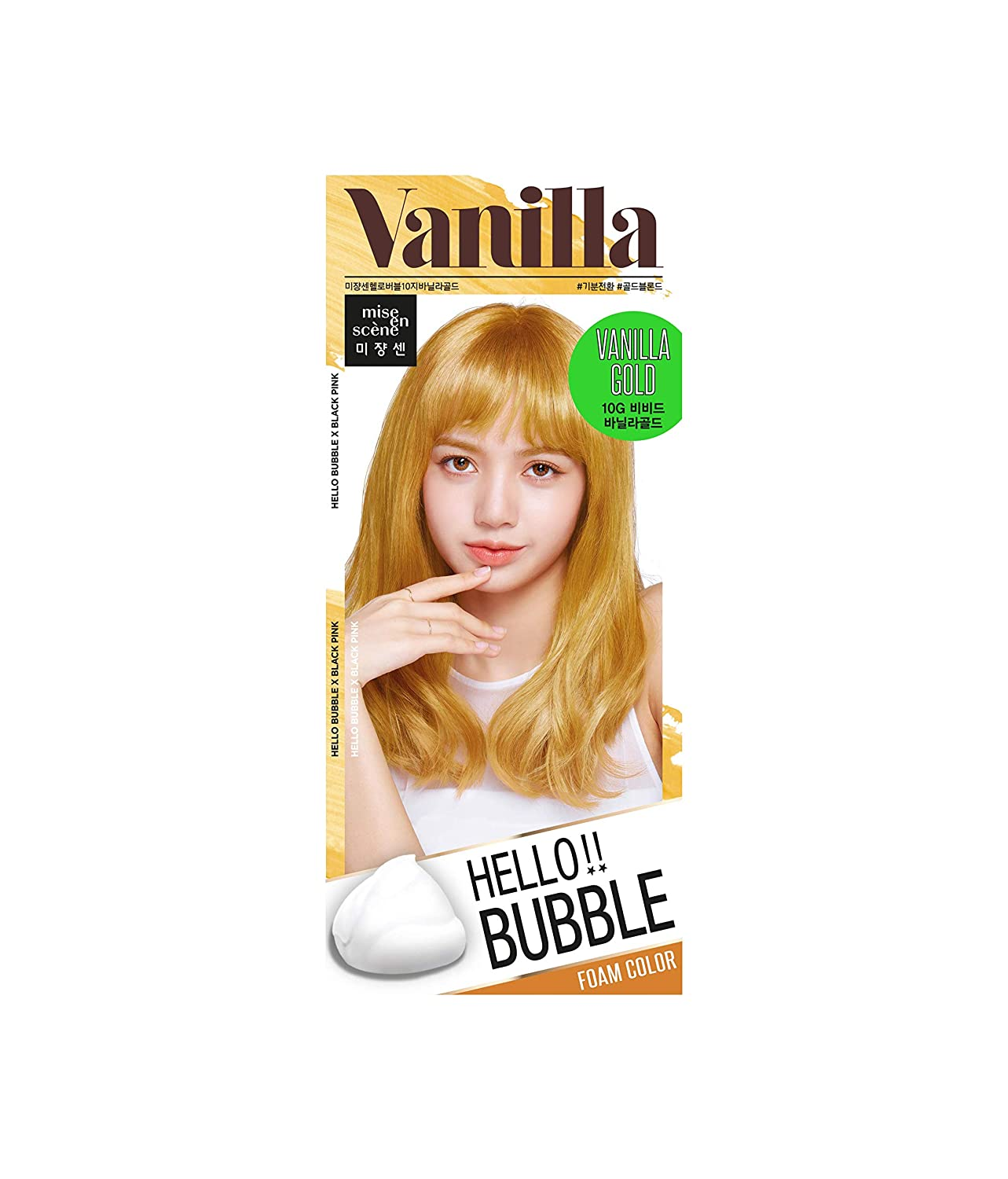 MISEENSCENE Hello Bubble Hair Easy At-Home Color with Hair Ampoule for Hair Protection Vivid Color (Vanilla Gold)