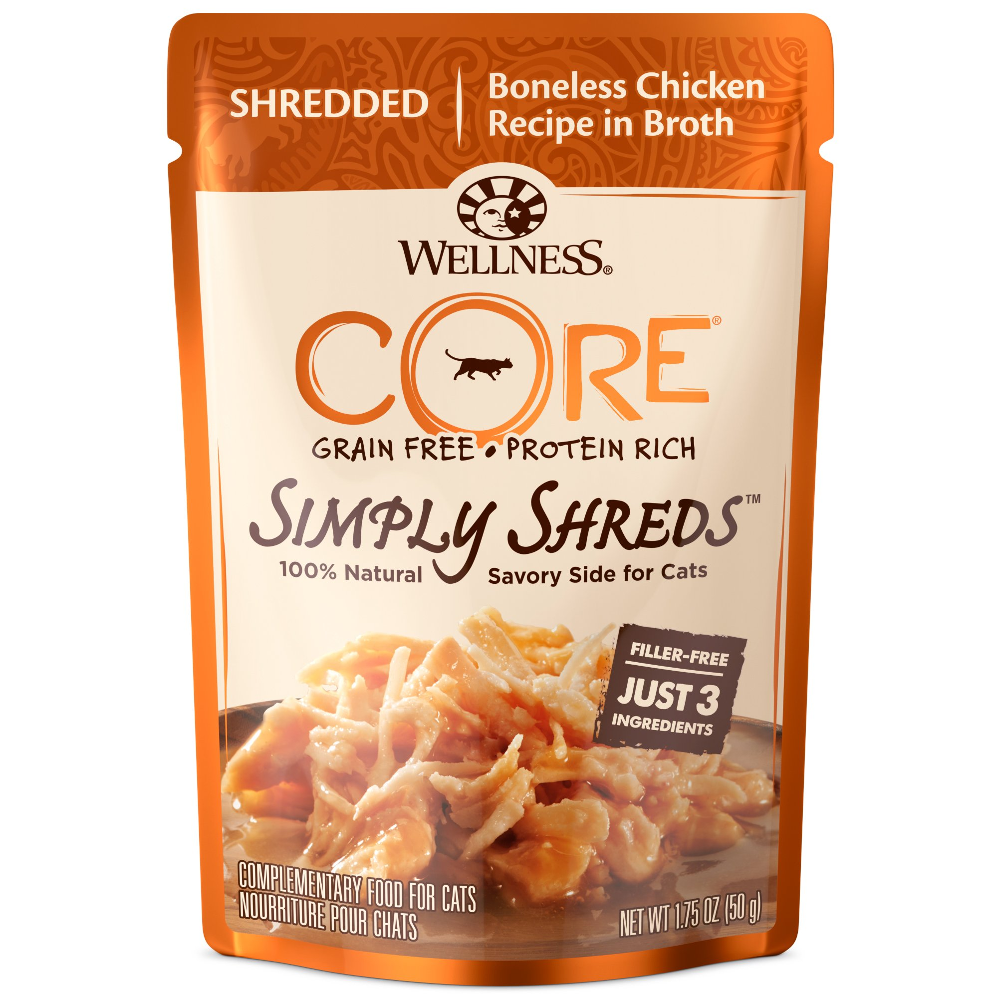 Wellness Core Simply Shreds Grain Free Wet Cat Food Mixer Or Topper, Shredded Boneless Chicken Recipe In Broth , 1.75-Ounce Pouch (Case Of 12) by Wellness Natural Pet Food