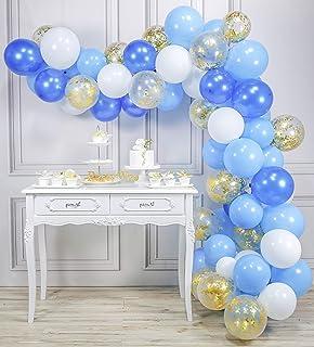 PartyWoo Globos Azules y Blancos, Globos 100 Unidades de 12 ...