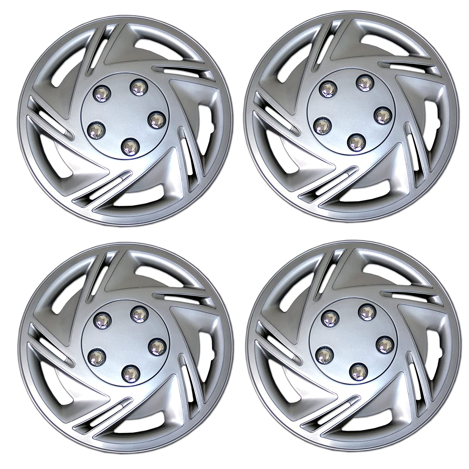 14-Inches Style 9602 Snap-On Pop-On Pack of 4 Hubcaps Type Metallic Silver Wheel Covers Hub-caps Tuningpros WC3-14-9602-S