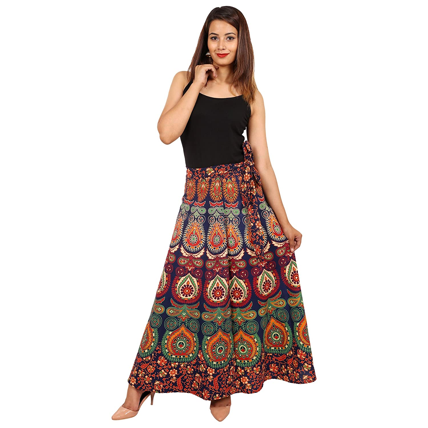 Jaipuri Fashionista Cotton Women's Long Wrap Around Skirt Jaipuri Printed (Free Size Upto 44-XXL)