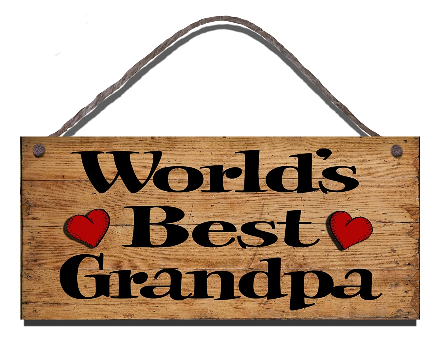 Wooden Funny Sign Wall Plaque Gift Present WorldS Best Grandpa
