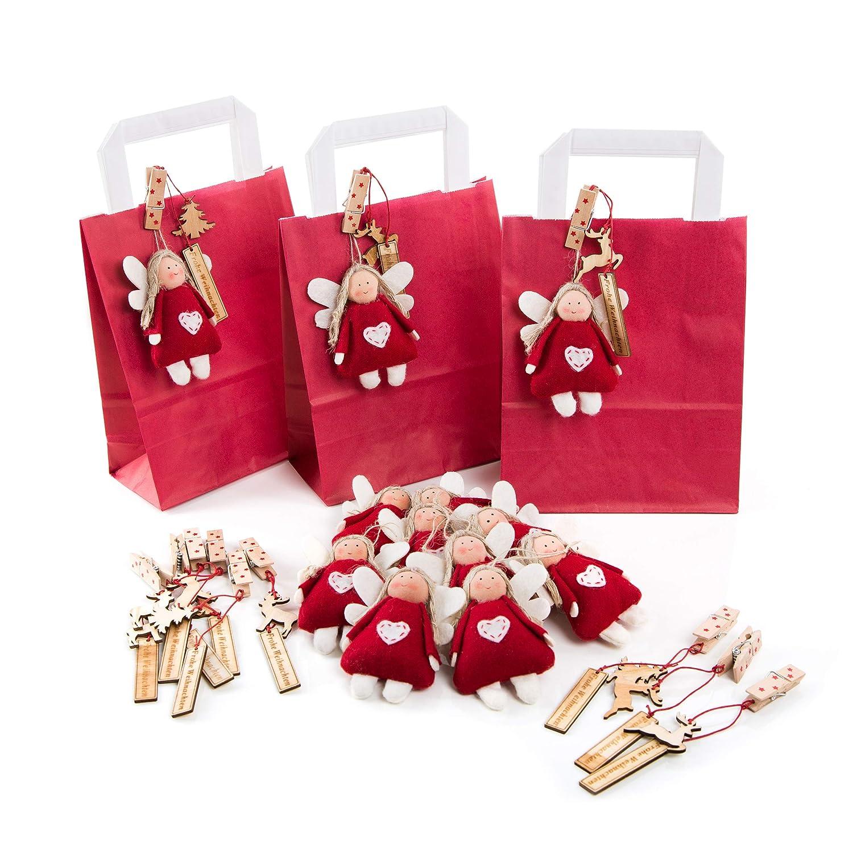 12 kleine ROTE Tüten Verpackung Frohe Weihnachten mit Engelanhänger ...
