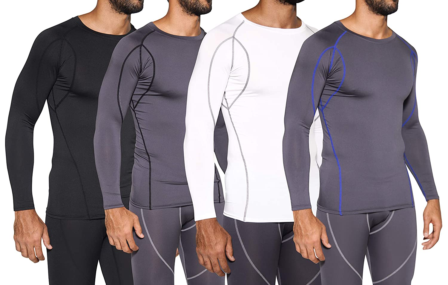 Mens Compression Top Long Sleeve Shirt Base Layer Active Athletic Sports T-Shirts 4 Pack