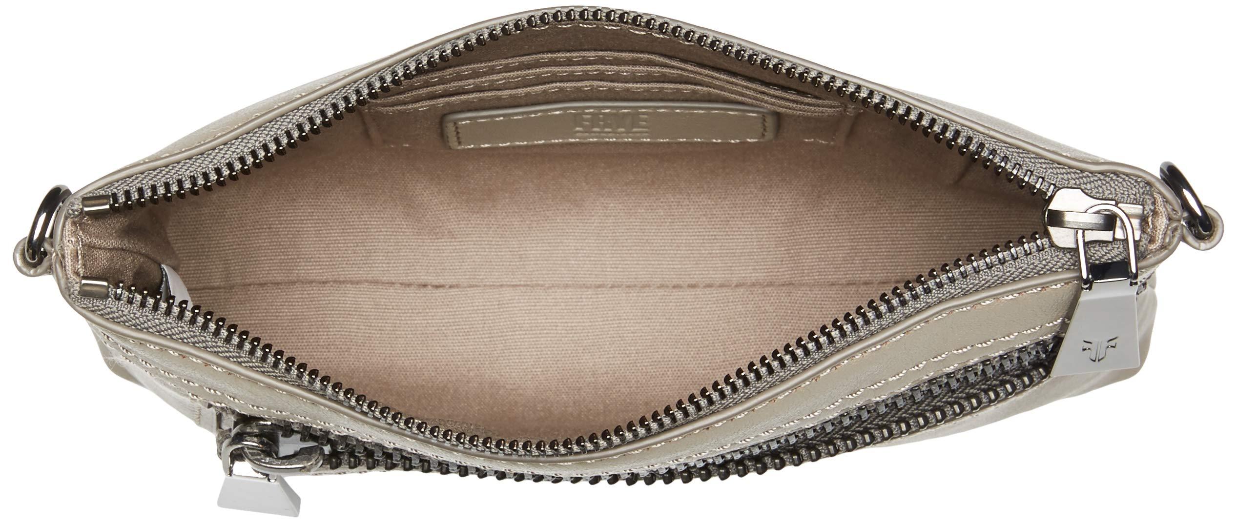 FRYE Lena Zip Leather Crossbody Wristlet Bag, grey by FRYE (Image #5)