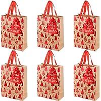 Angoily 6 stks Tas Papier Tote Tassen Xmas Party Gunst Zakken met Handvatten en Boom Gift Tags Voor Verjaardag Bruiloft…