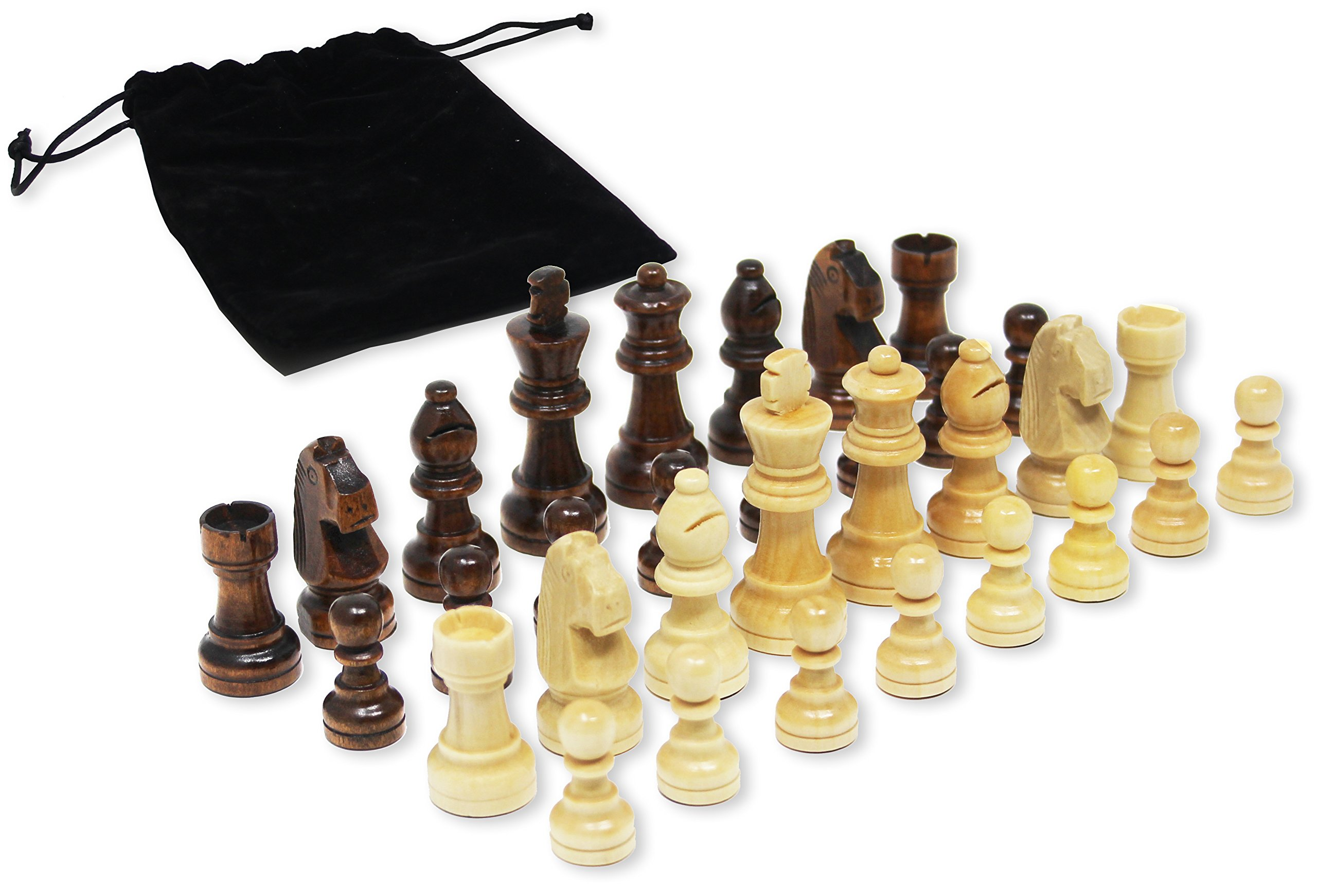 Da Vinci Staunton Wood Chess Pieces (32 Chessmen) & Storage Bag … (3 Inch King) by DaVinci (Image #1)