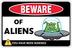 Venicor Beware of Alien Sign - 8 x 12 Inches - Aluminum - Alien Decor - Gift For Alien Lovers - Ufo Sign Room Decor - Metal Aliens Bedroom Decorations - Area 51 Wall Poster Things Stuff Tapestry