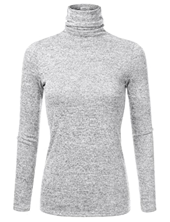 b9a7ae266c004 Doublju Marled Turtleneck Knit Sweater for Women with Plus Size (Made in  USA) Hgray