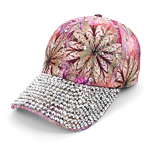 Image Unavailable. Image not available for. Color  Rhinestone Bling  Embellished Pink Flower Baseball Cap 3b0aeda15e53