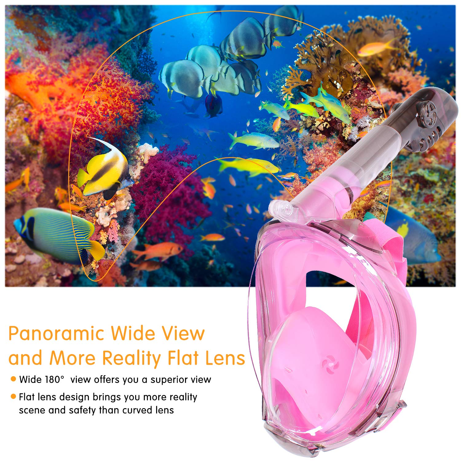 COSVII Snorkel Mask Full Face, Diving Mask with 180° Panoramic View & Detachable Camera Mount, Anti Fog & Anti Leak, Swimming Mask with Adjustable Head Straps for Adults (Pink, Large/Extra Large)