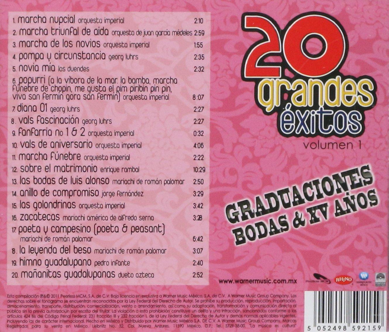 Bodas & XV Anos Graduaciones - 20 Grandes Exitos [Graduaciones, bodas & Xv Anos] - Amazon.com Music