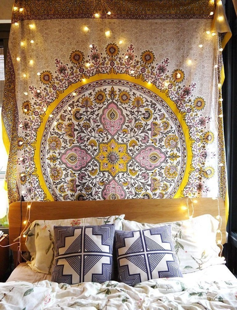 Flber Mandala Tapestry Wall Hanging Medallion Yellow Tapestry Dorm Curtain Decor, 60 Wx 80 L 60 Wx 80 L