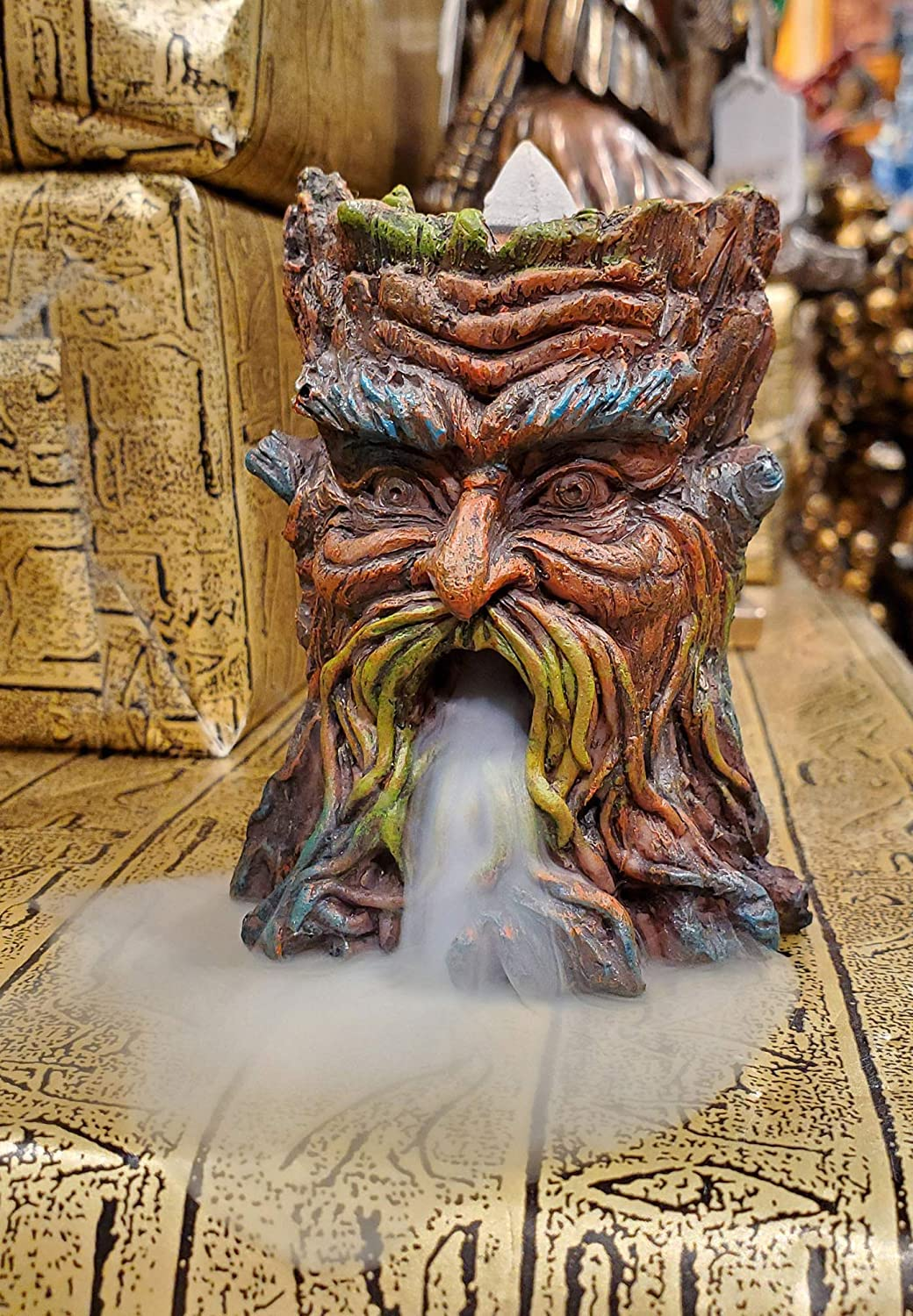 """Ebros Gift Magical Forest Mystic Cernunnos Greenman Ent Backflow Incense Cone Burner Statue 3.25"""" H Aromatherapy Scent Accessory Holder As Celtic Wiccan Horned God Home Decor Tree Spirit Sculpture"""
