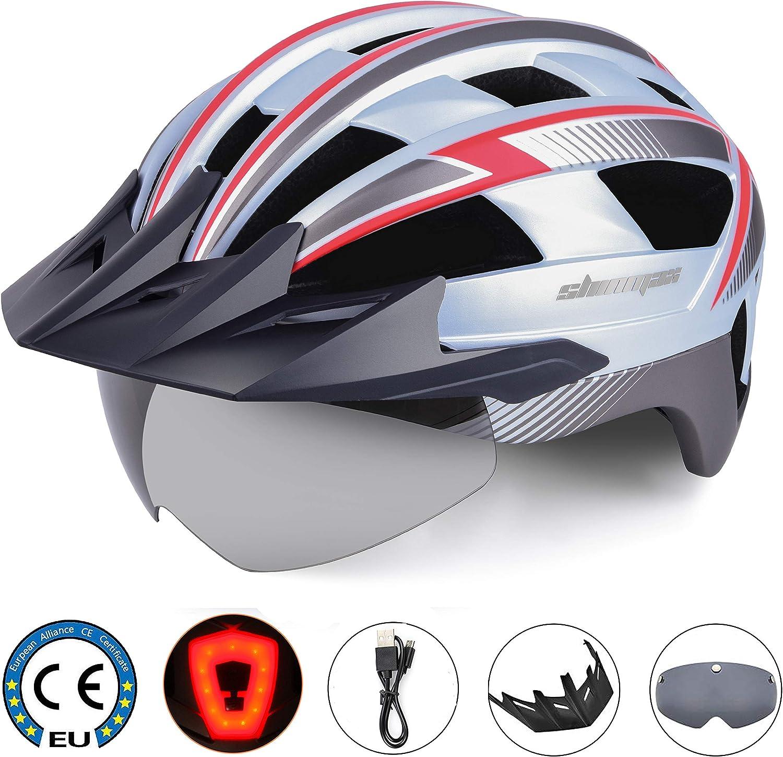 Shinmax Casco Bicicleta Carretera Casco Seguridad CE stándar/Casco de Escalada Ajustable con luz de Seguridad y Visera extraíble y Gafas de montaña magnéticas para Hombres y Mujeres Adultos