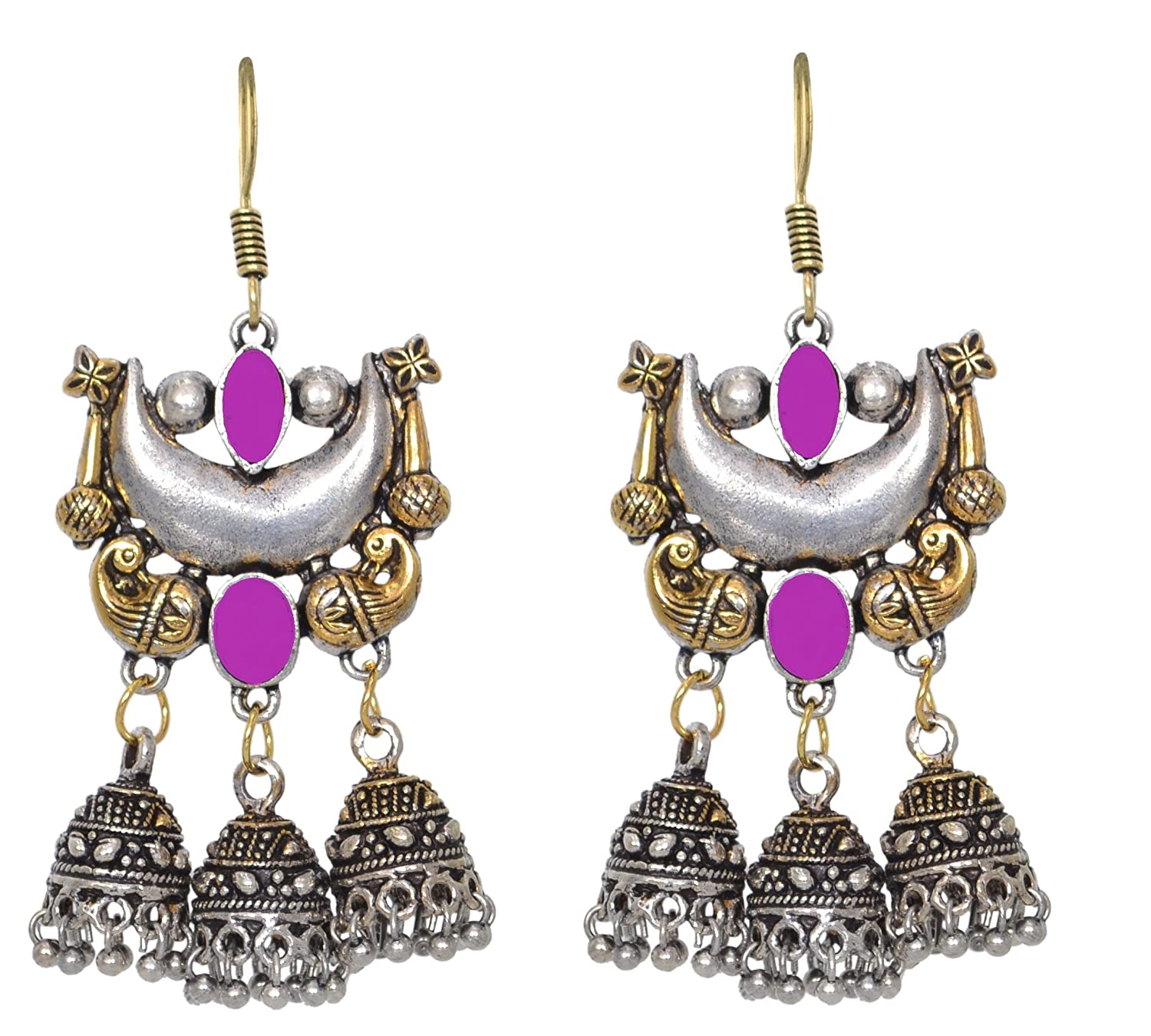 Sansar India Oxidized Dual Tone Jhumka Indian Earrings Jewelry for Girls and Women