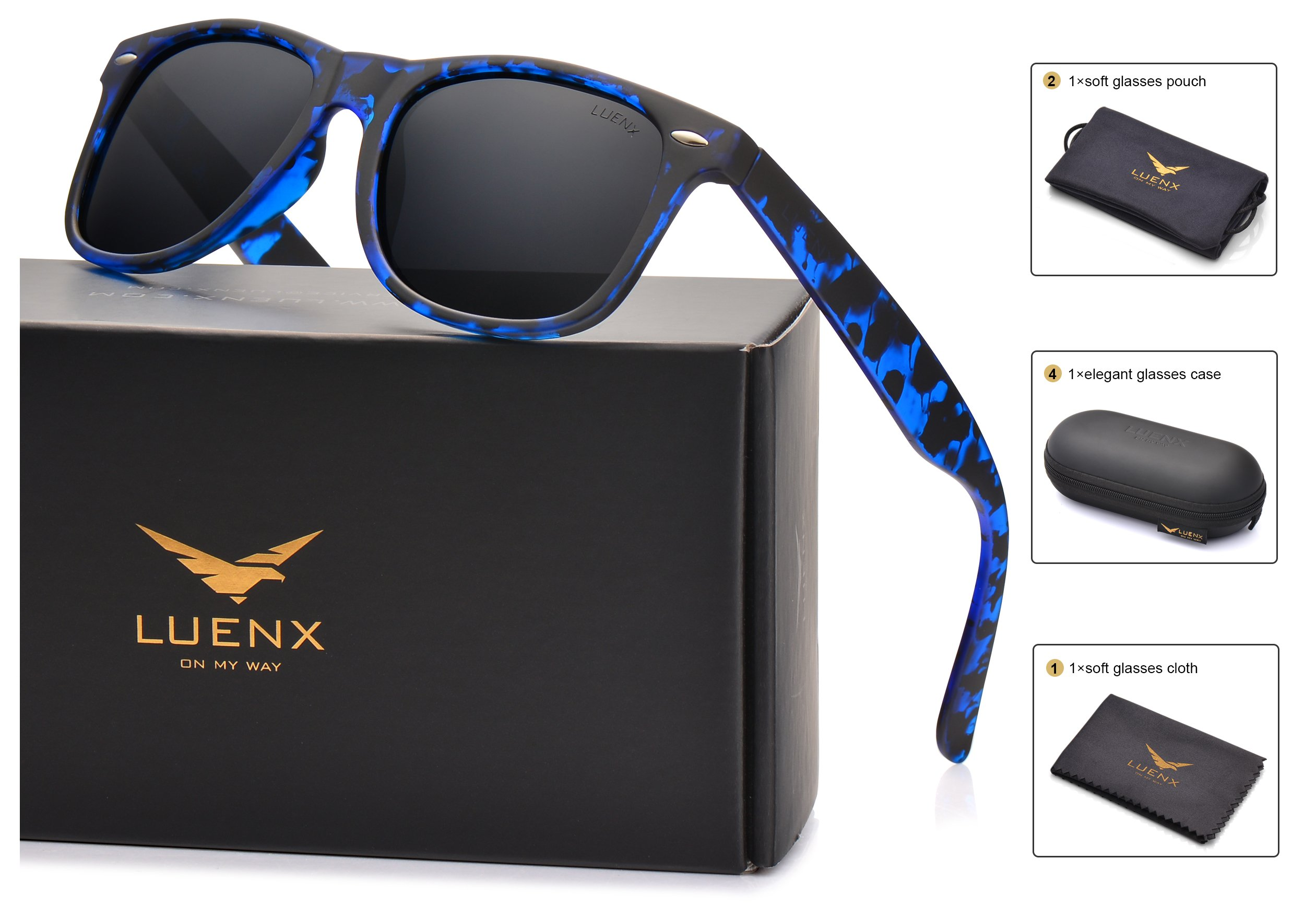 LUENX Mens Wayfarer Polarized Sunglasses for Womens UV 400 Protection Black Lens Tortiose Blue Frame 54MM,by with Case