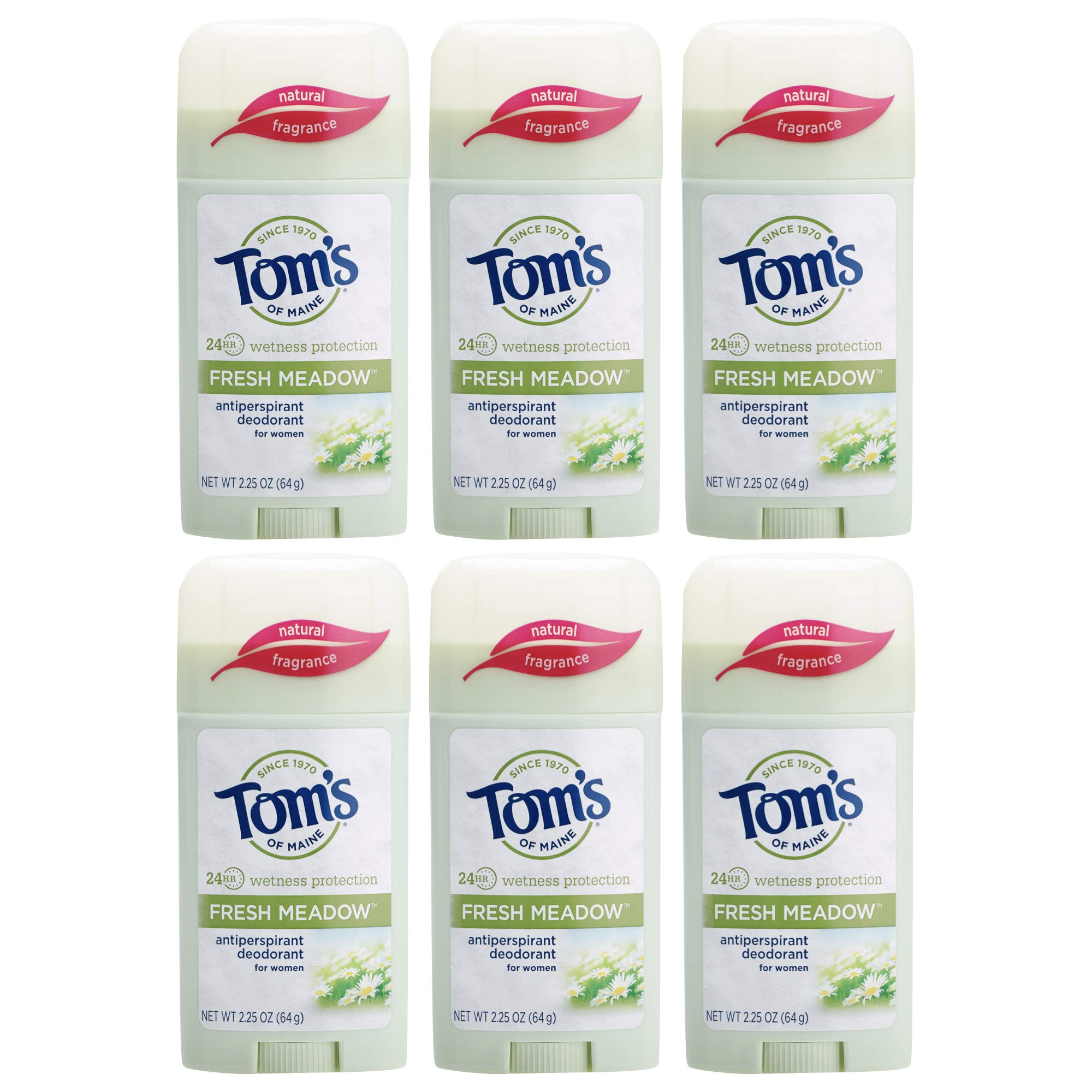 Tom's of Maine Natural Fresh Meadow Women's Stick Antiperspirant, 2.25 Ounce, ( Pack of 6 ) by Tom's of Maine