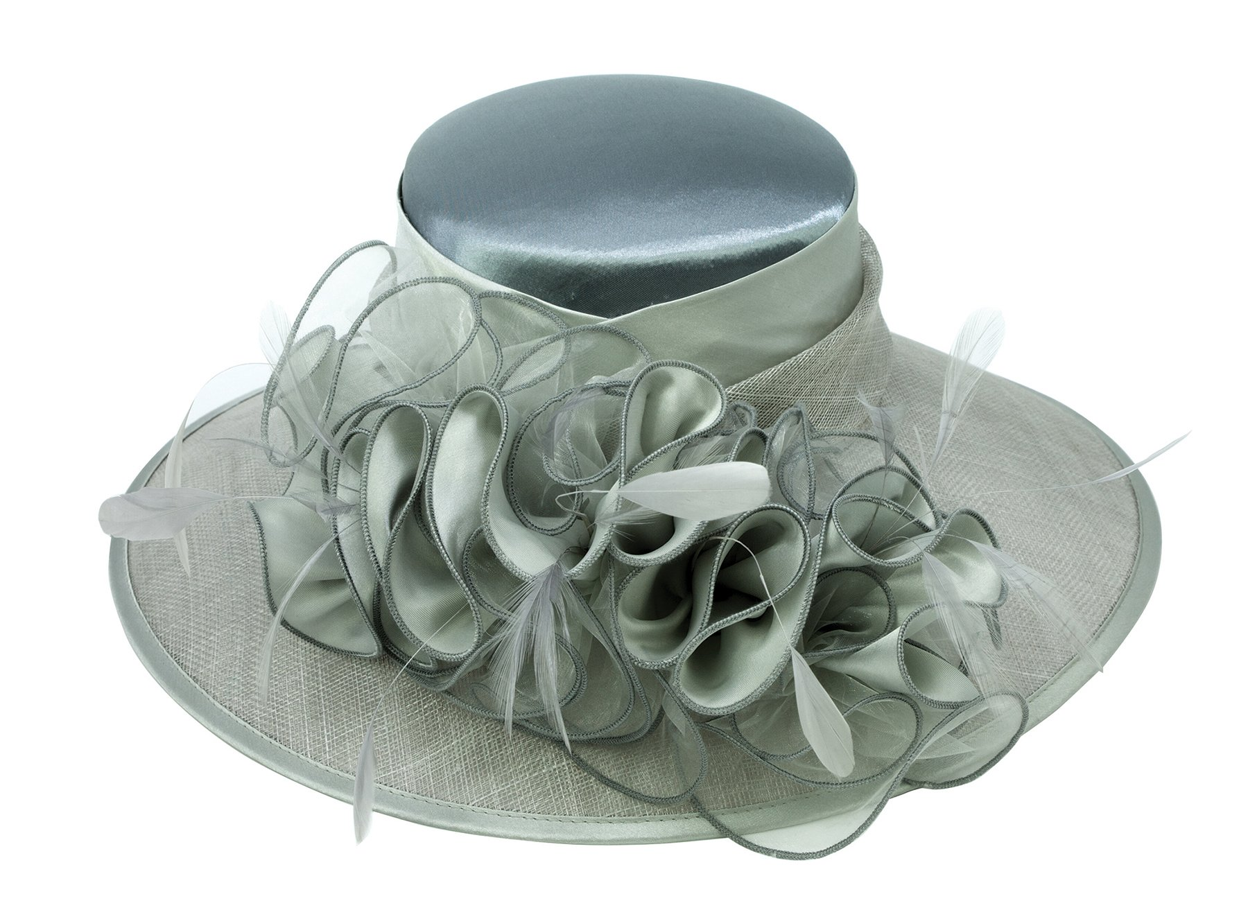 ChicHeadwear Womens Wide Brim Bow Sinamay Fashion Hat - Silver w/Charcoal by ChicHeadwear (Image #1)
