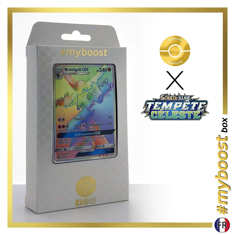 Brazégali-GX (Blaziken-GX) 170 168 Arcobaleno Segreto -  myboost X Soleil & Lune 7 Tempête Céleste - Box di 10 Carte Pokémon Francese