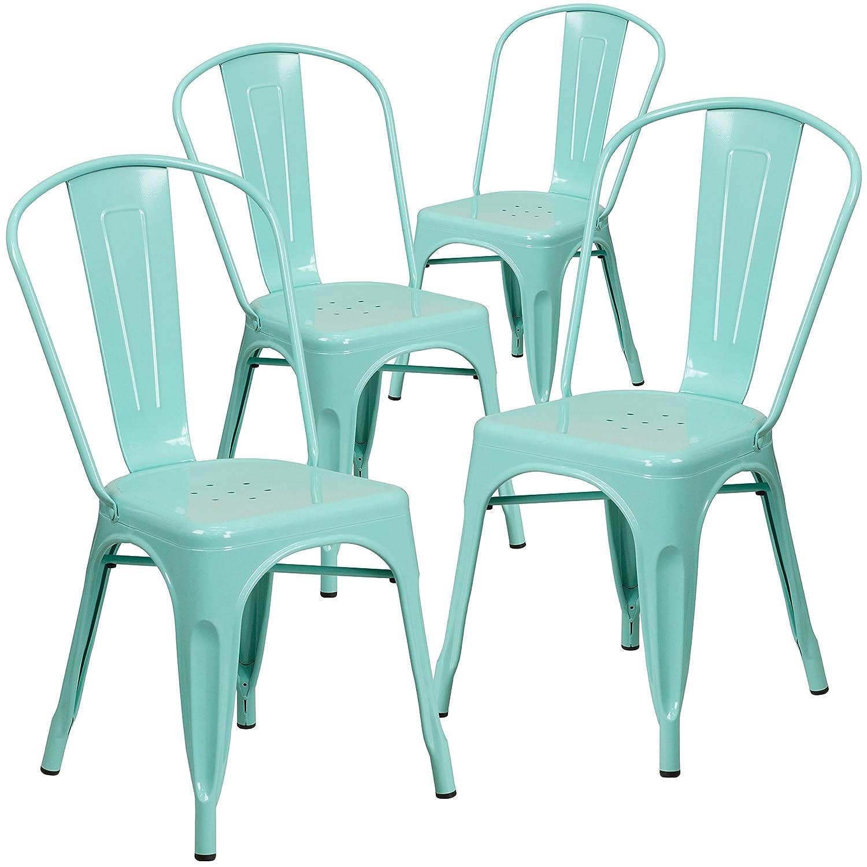 Flash Furniture 4 Pk. Mint Green Metal Indoor-Outdoor Stackable Chair –
